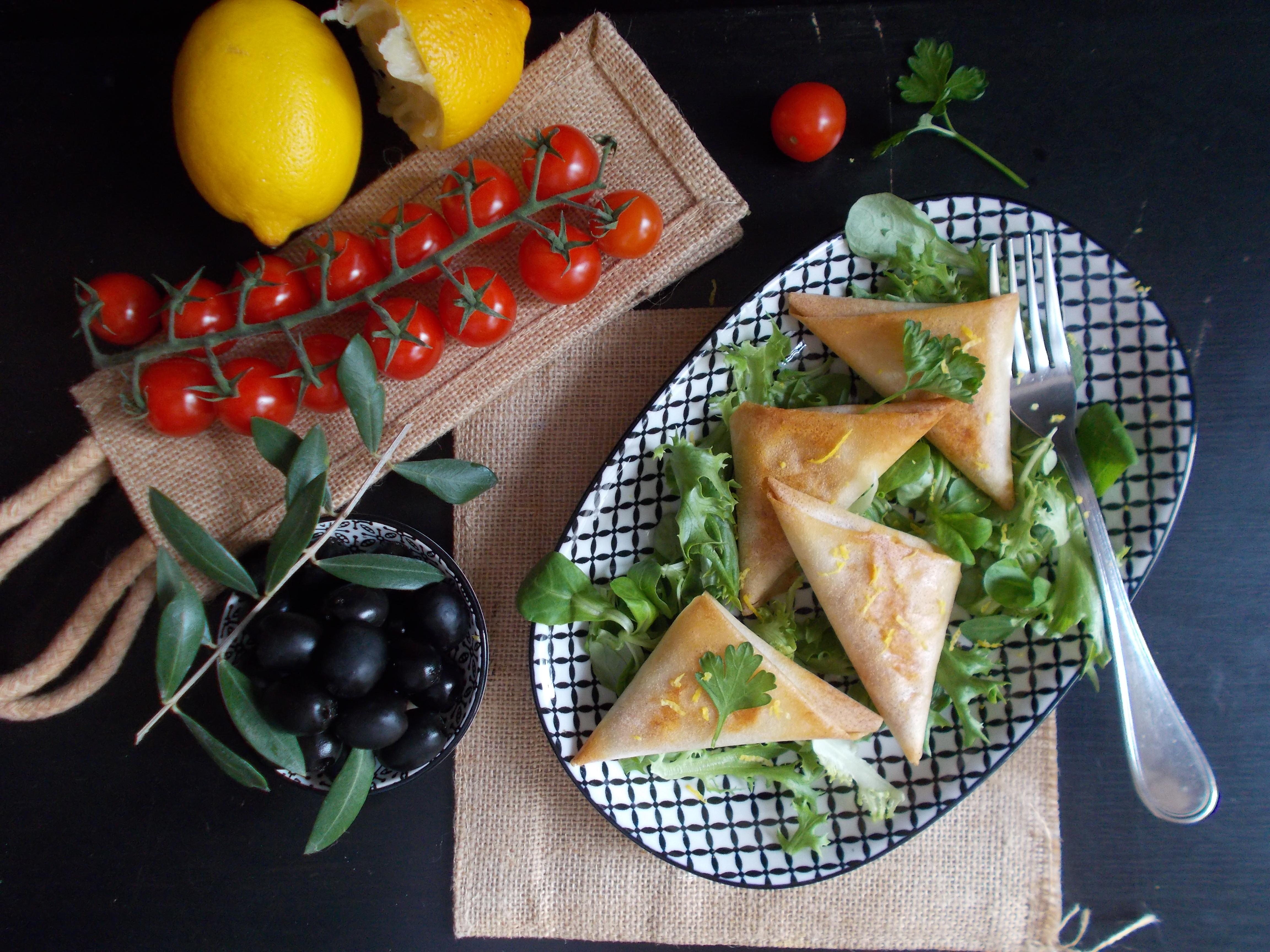 Samossas poulet, citron, olive