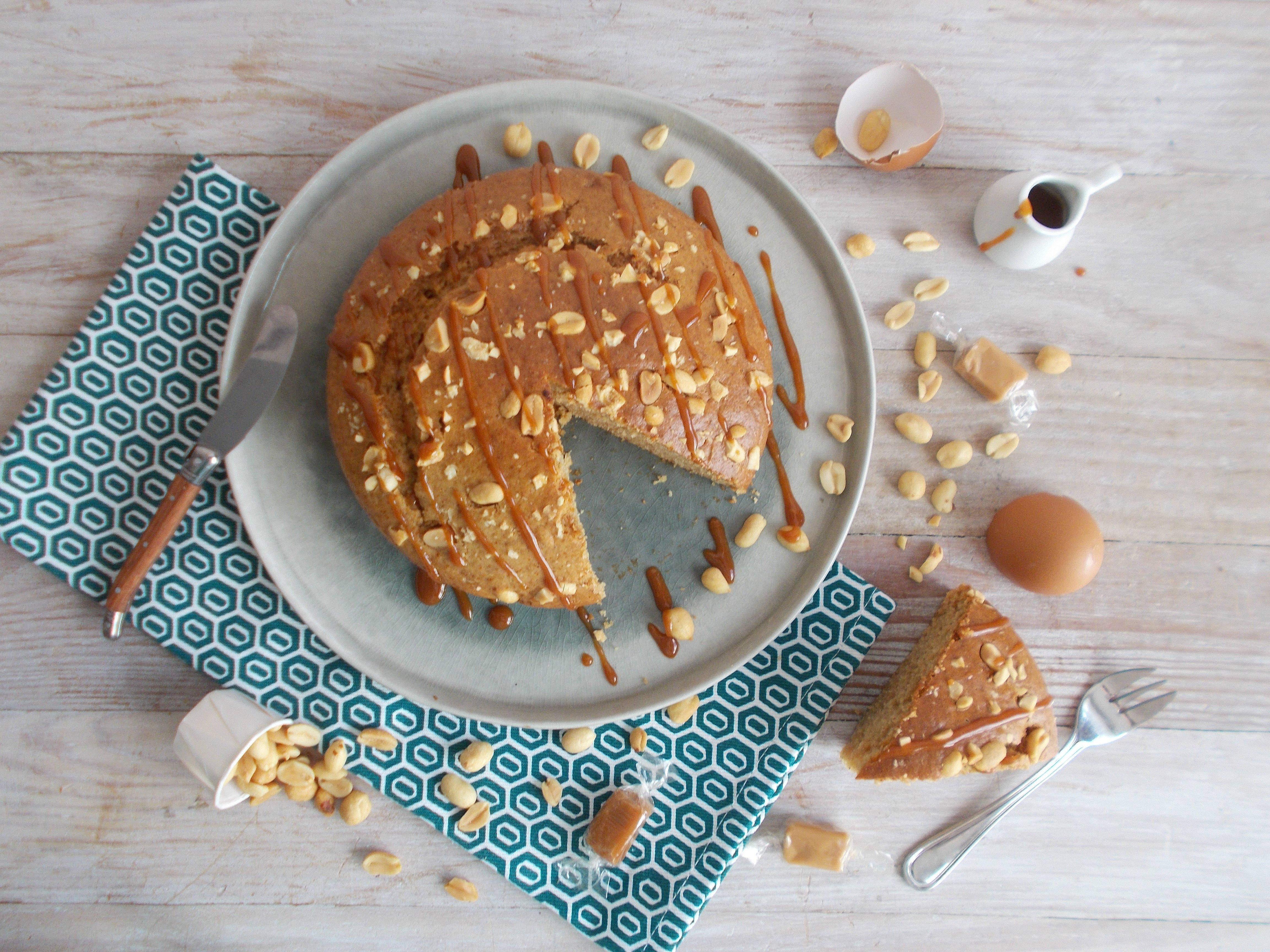 Gâteau cacahuète et caramel