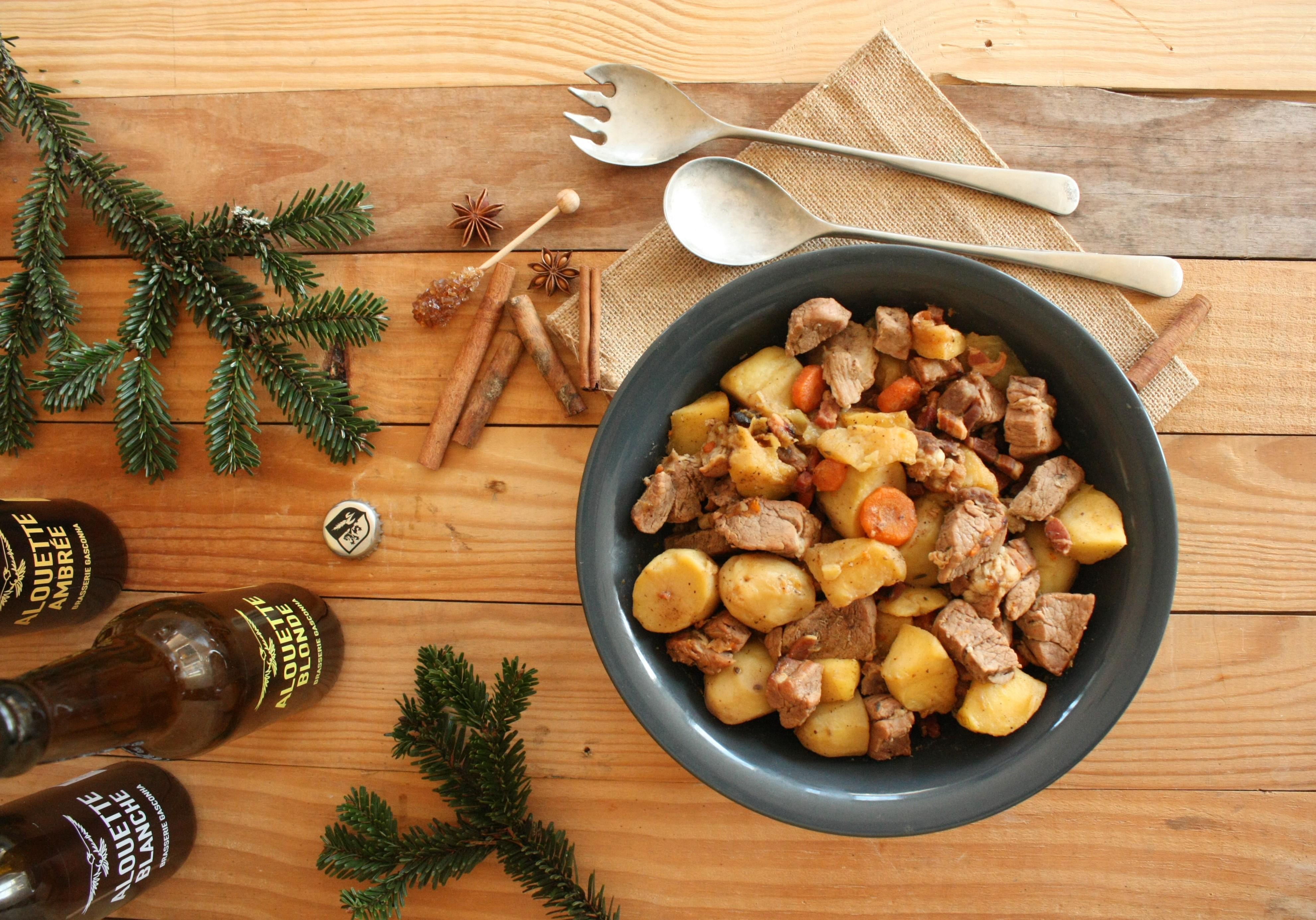 Sauté de porc aux coings, bière, miel et épices
