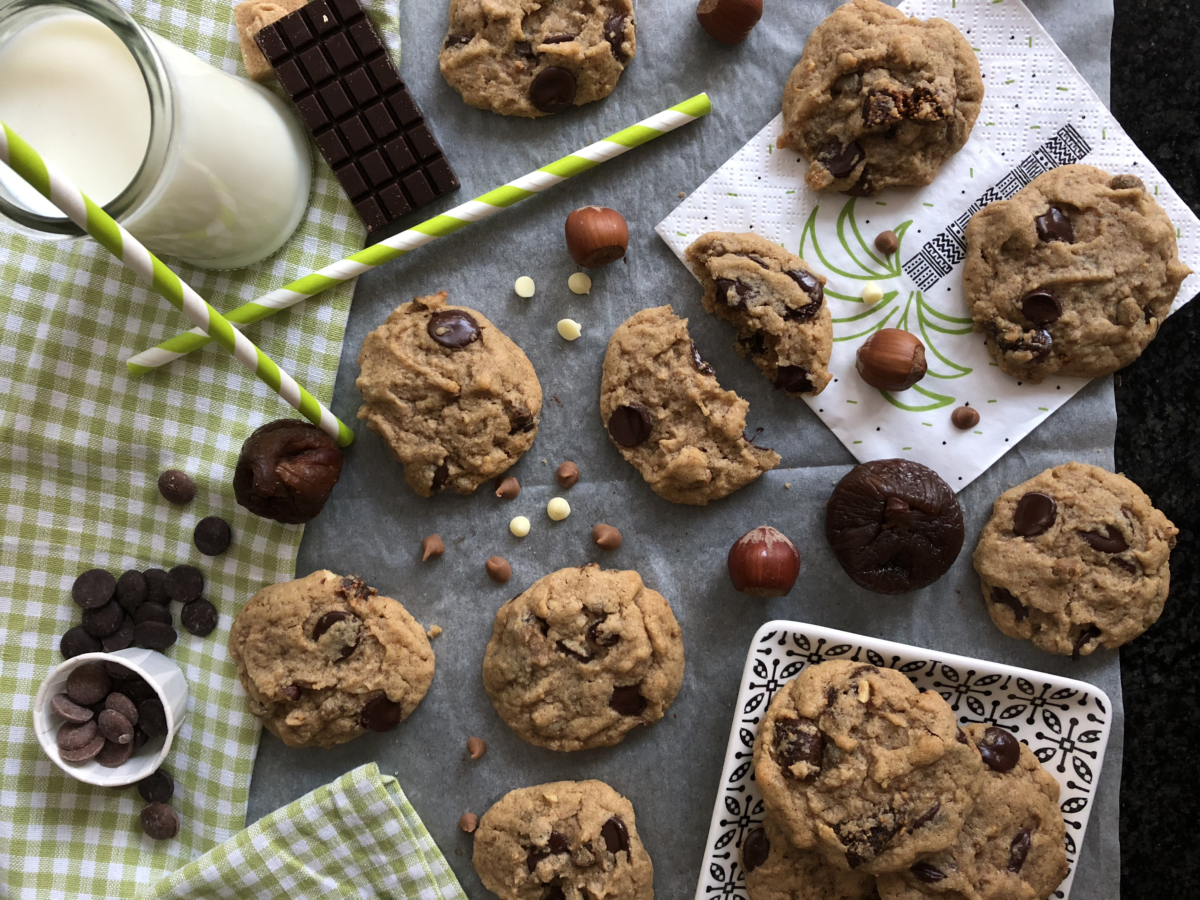 Cookie noisette, figue et chocolat