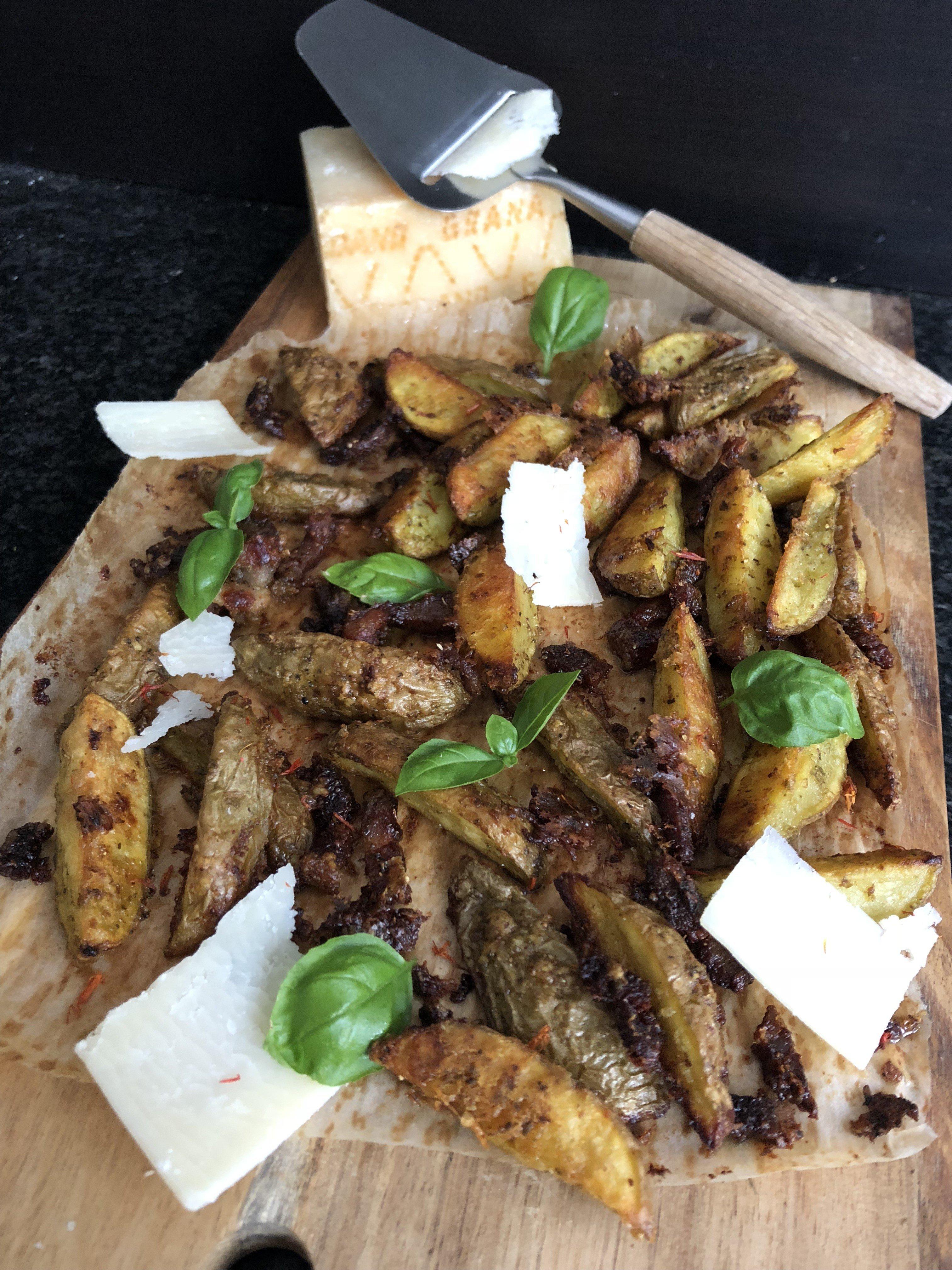 Frite au basilic et parmesan [four]