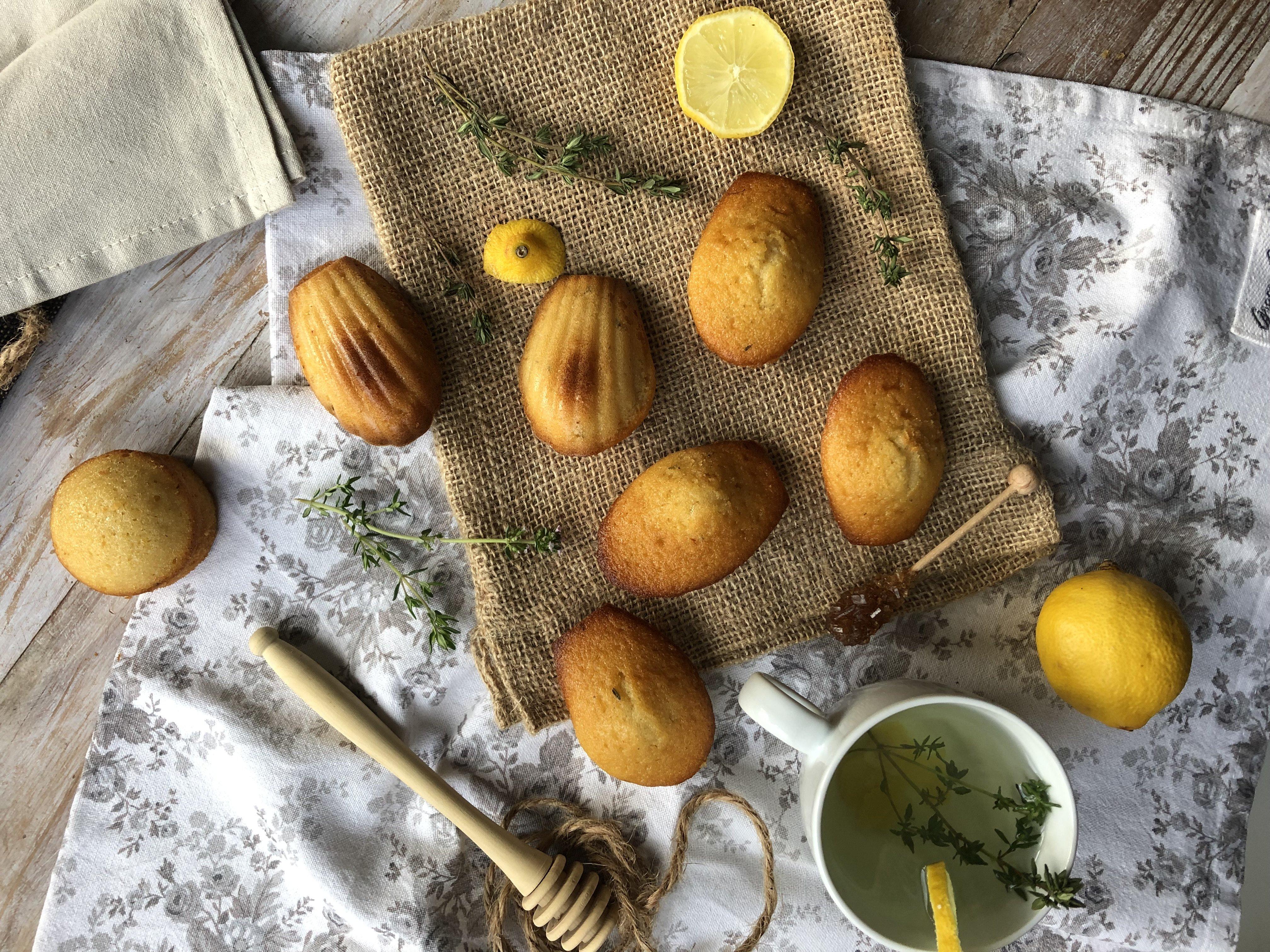 Madeleine thym, miel et citron