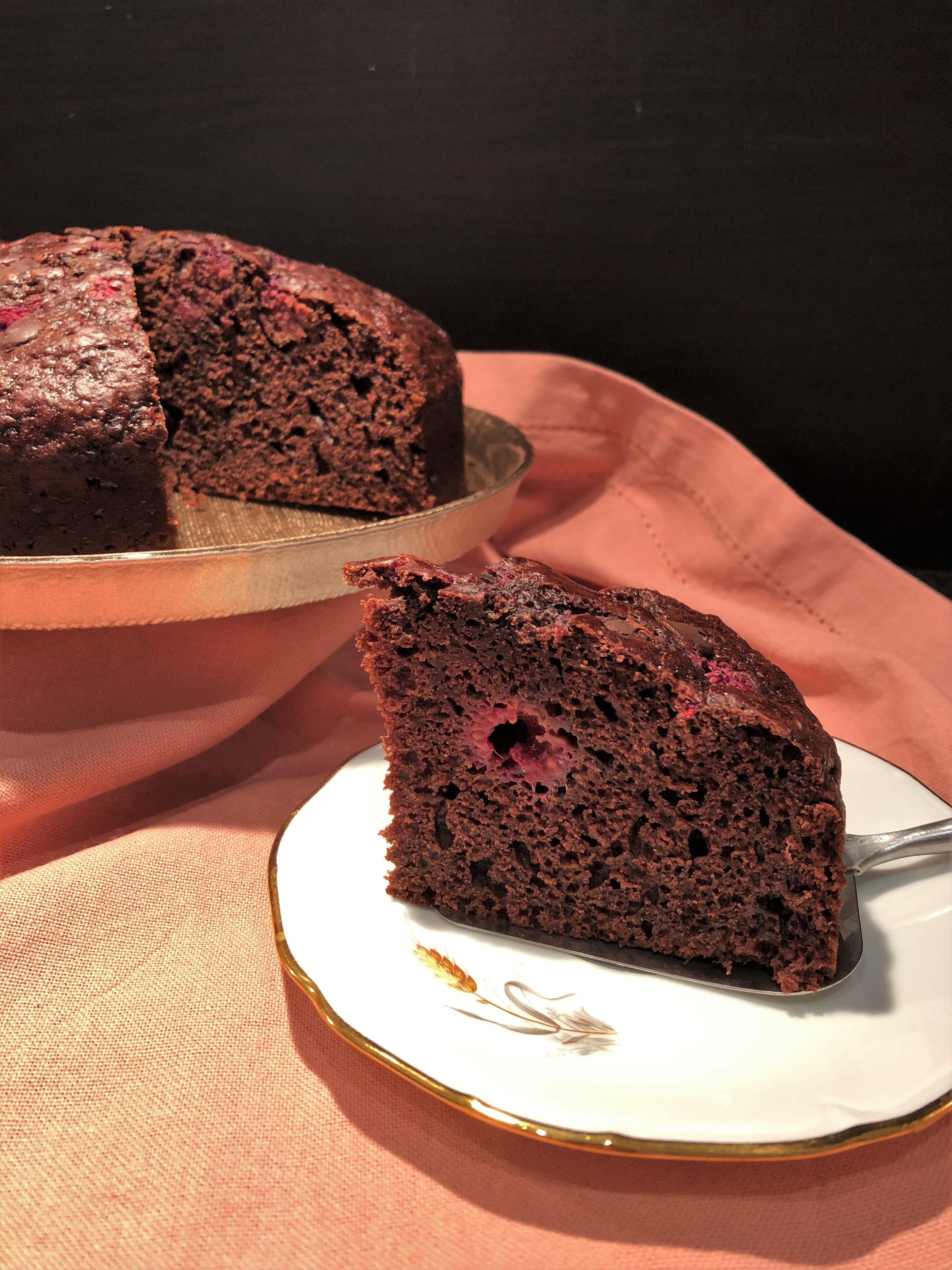 Gâteau au chocolat et framboise
