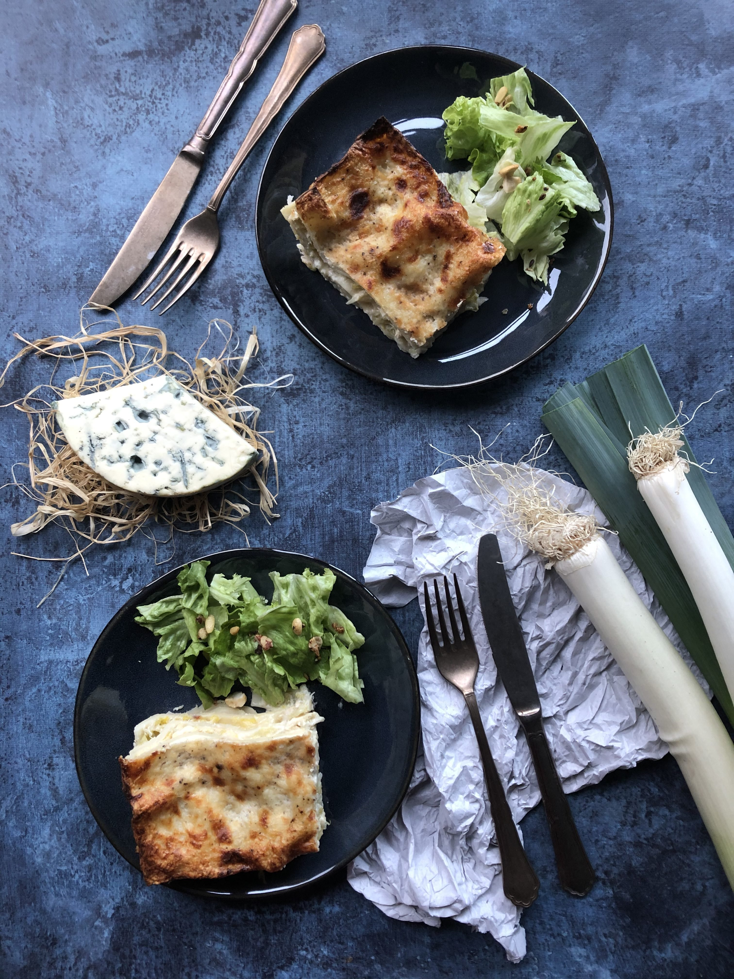 Lasagne poulet rôti, poireau et bleu