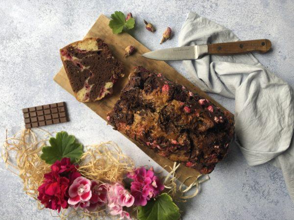 Marbré chocolat, framboise et géranium
