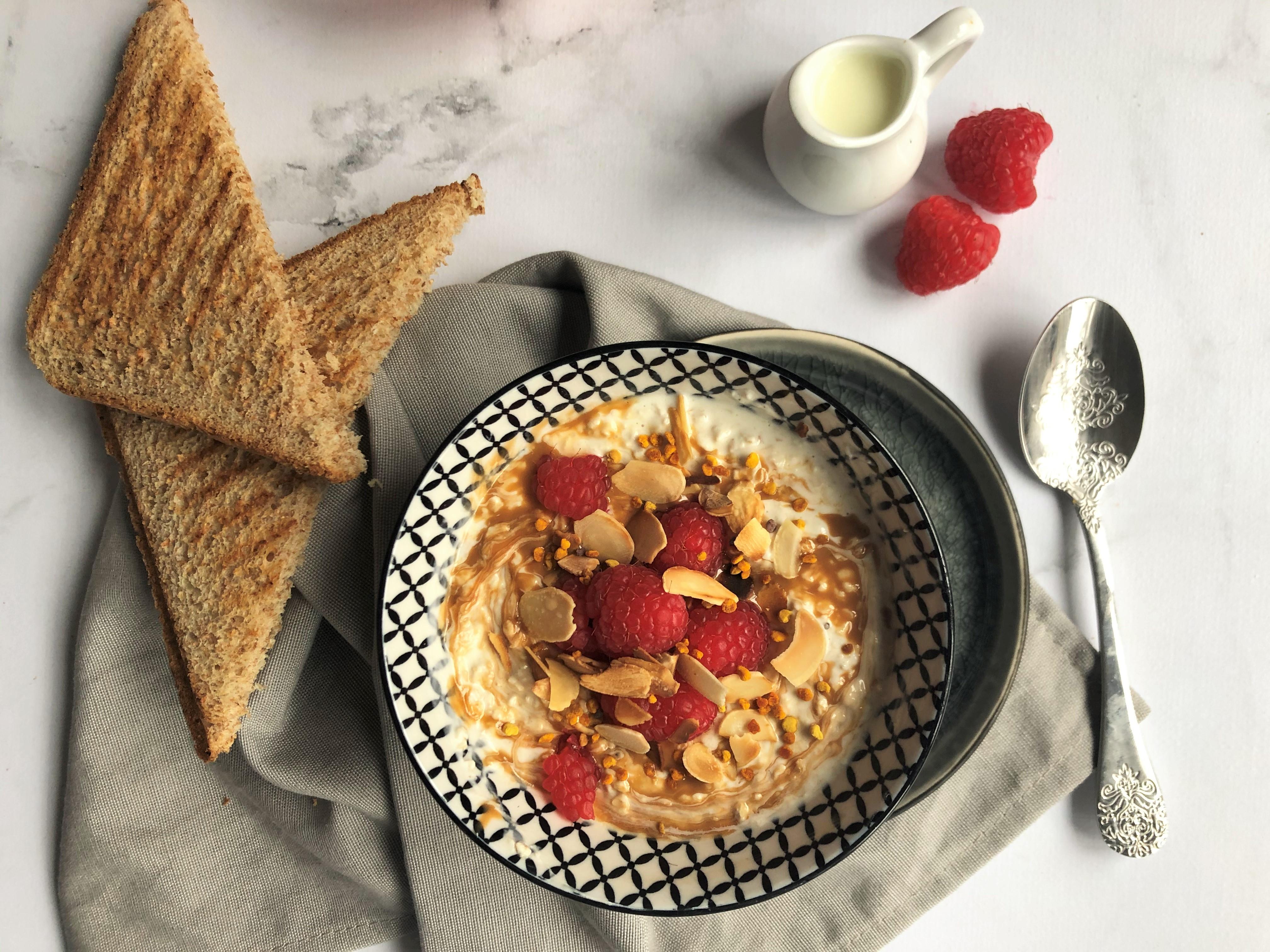 Overnight porridge amande & framboise