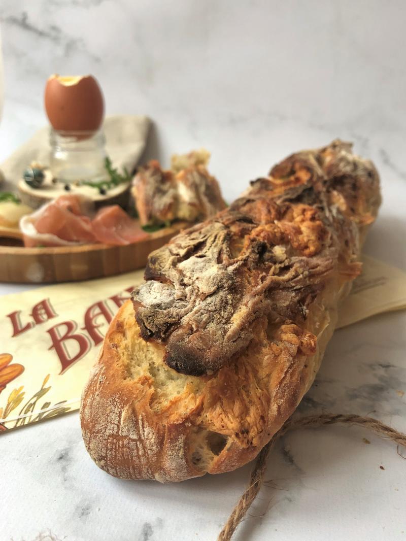 Baguette raclette, pomme de terre, bacon
