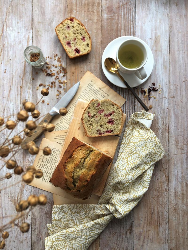 Cake bergamote, lapsang-souchong et framboise
